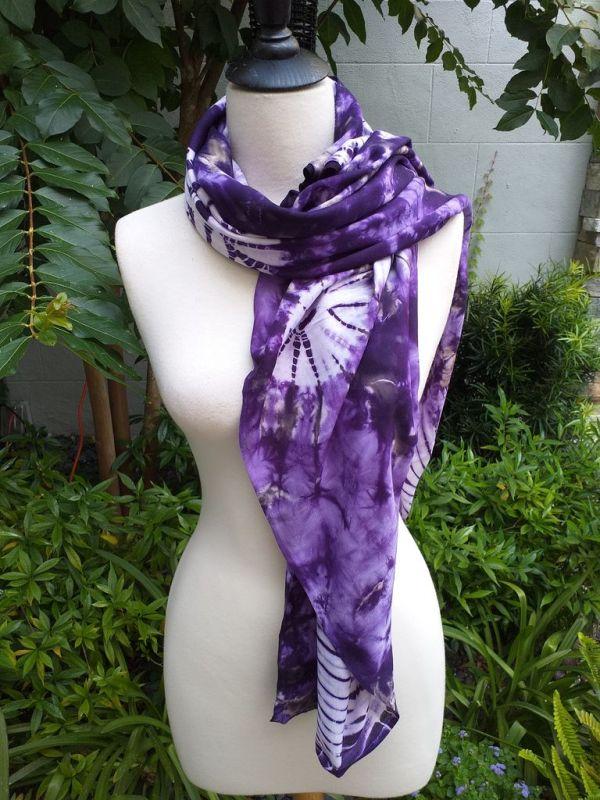 XEQ877A Rayon Scarf Hand Tie Dye Square Bright Color Hemmed Uniquel