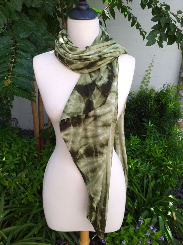 XEQ879A Rayon Scarf Hand Tie Dye Square Bright Color Hemmed Original