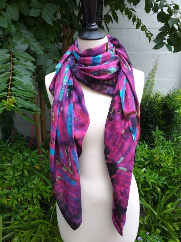 XEQ881B Rayon Scarf Hand Tie Dye Square Bright Color Hemmed Original