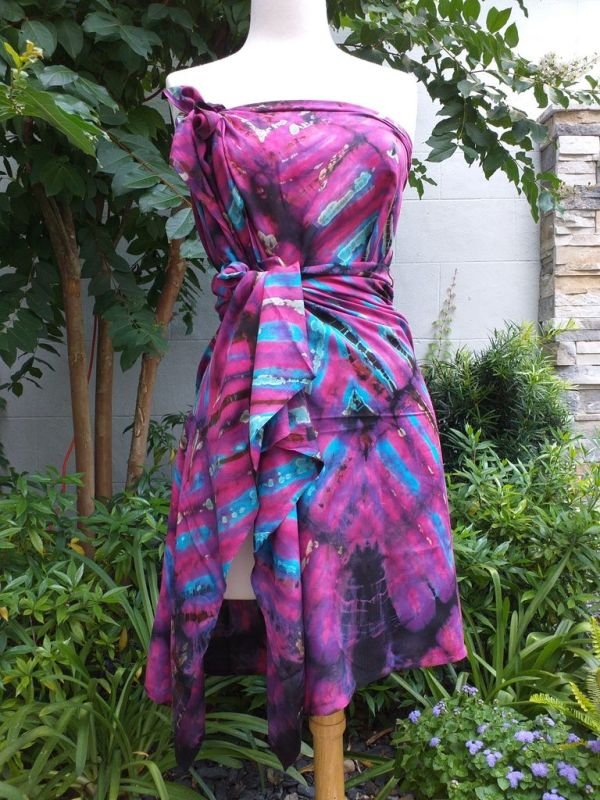 XEQ881D Rayon Scarf Hand Tie Dye Square Bright Color Hemmed Original