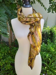 XEQ882A Rayon Scarf Hand Tie Dye Square Bright Color Unique Original
