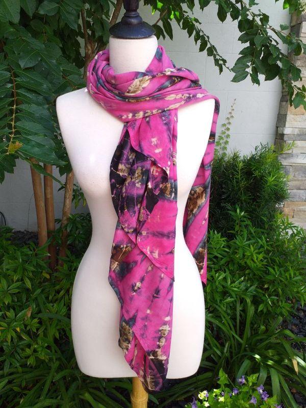 XEQ887A Rayon Scarf Hand Tie Dye Square Bright Hemmed Unique Original