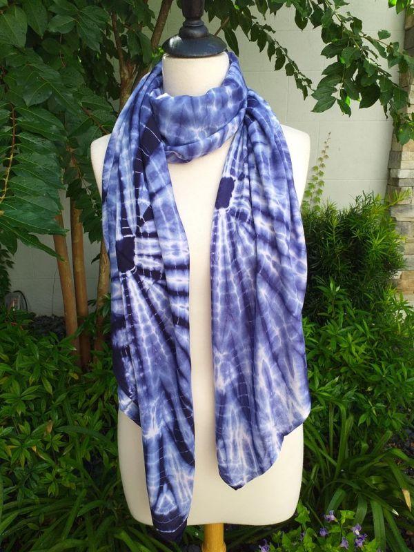 XEQ889B Rayon Scarf Hand Tie Dye Square Bright Hemmed Unique Original