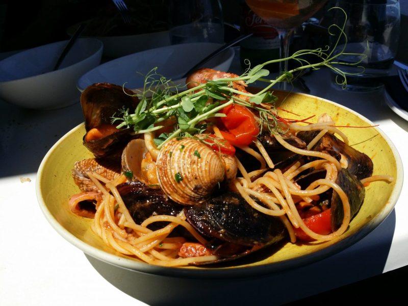 Enjoying Marinara spaghetti