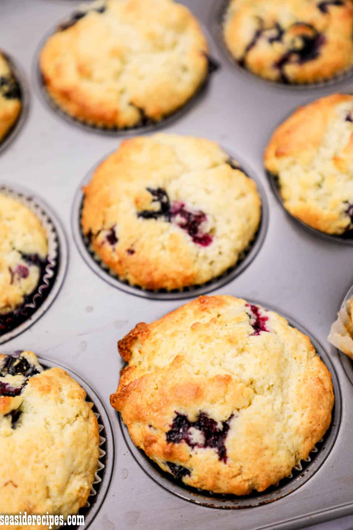 These blueberry muffins taste delicious.  Believe it, this muffin is one of the best muffins I have ever had. via @seasiderecipes