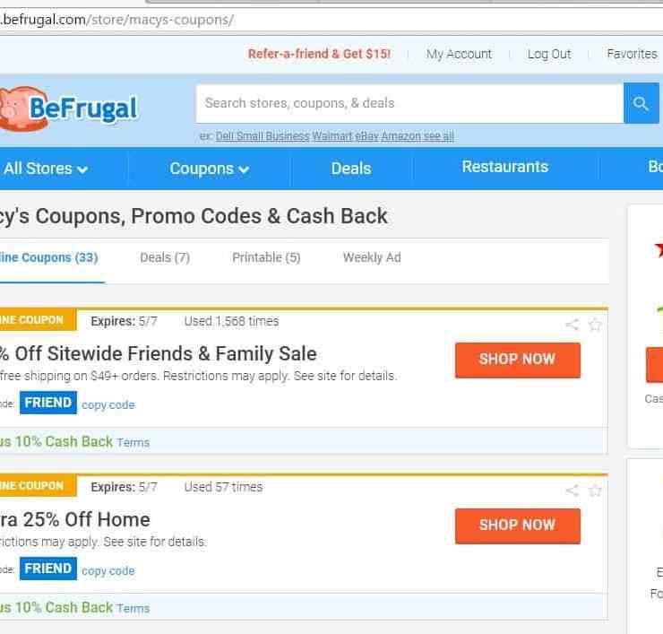 Earn Cash Back with BeFrugal & get $10 free