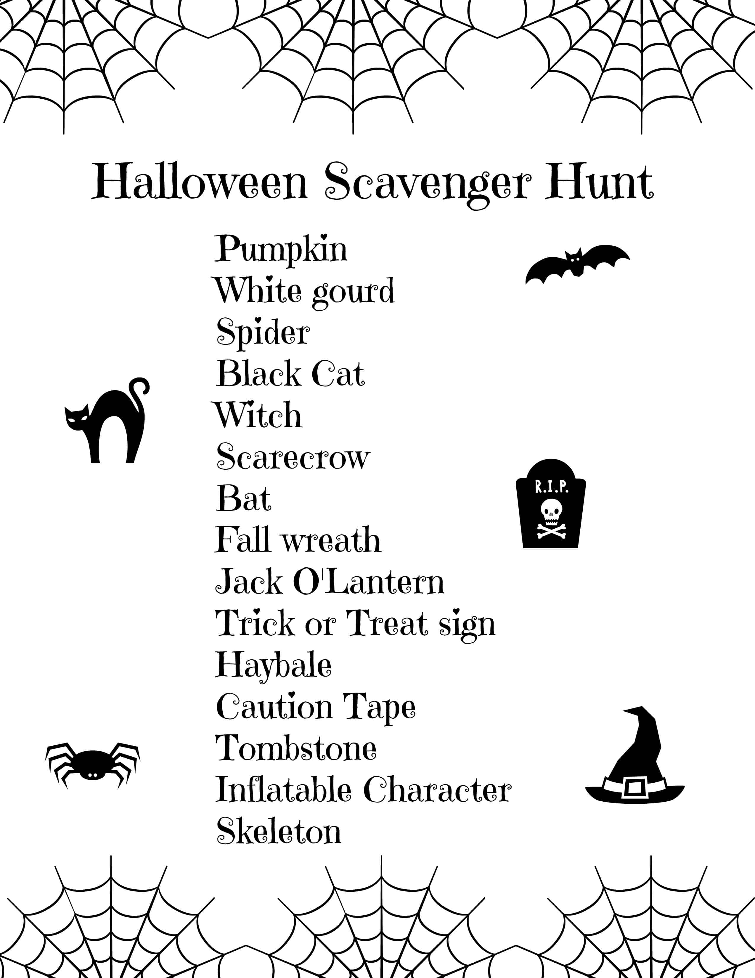 Halloween Scavenger Hunt For Toddlers Free Printable