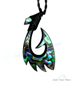 Mauna Loa Abalone Fish Hook Necklace