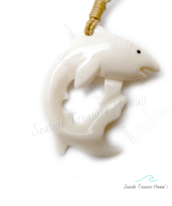 carved bone shark necklace