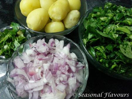 Ingredients for making methi aloo sabzi recipe
