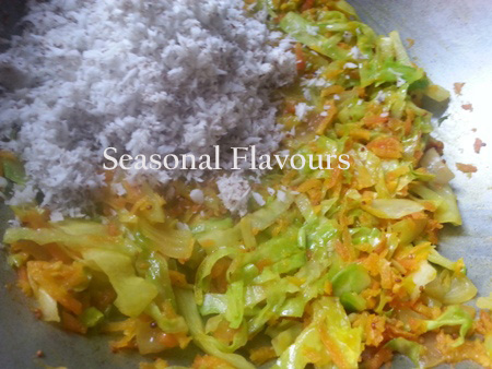 add grated coconut for easy cabbage recipe