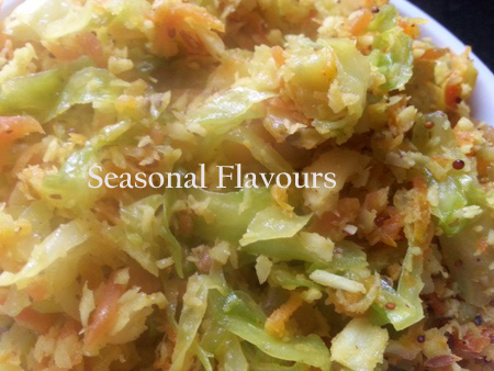 Cabbage-Carrot Thoran Kerala Style With Grated Coconut Recipe