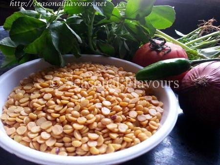 Ingredients for pappu menthi kura recipe