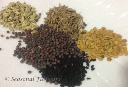 Seasoning ingreients for Vegetable Masala Curry