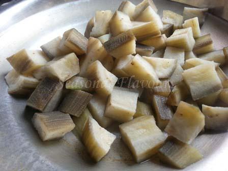 boiled plantain for aratikaya kura recipe