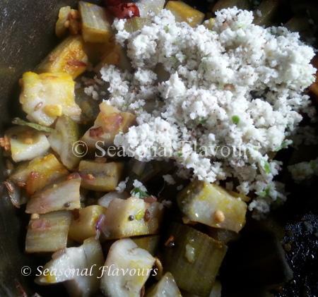 Add coconut-chilli paste fpr spicy raw banana stir fry recipe