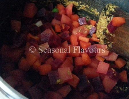 Add Boiled Vegetables To Korma