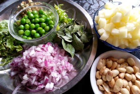 Ingredients for poha breakfast recipe