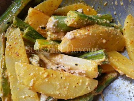Mix in mustard paste and poppy seeds paste for aloo sojne data recipe