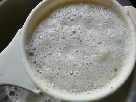 Strain cucumber puree for cucumber drink recipe