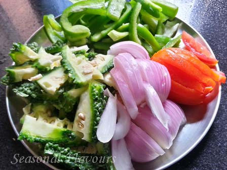 Ingredients for Karela Capsicum recipe