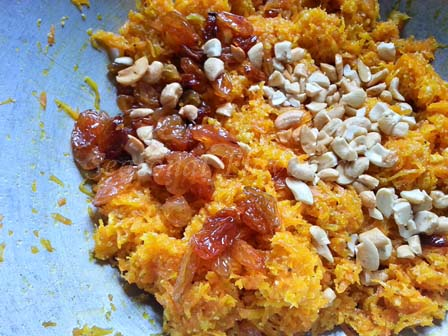 Fold in dry fruis, cardamom powder for Indian carrot dessert recipe