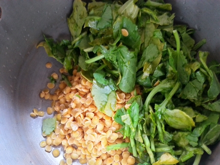 pressure cook fresh sorrel and lentils for chukka koora dal