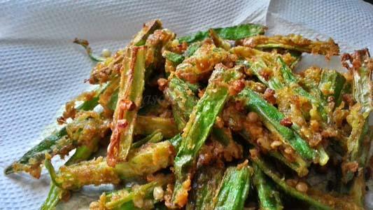 crispy fried bhindi recipe