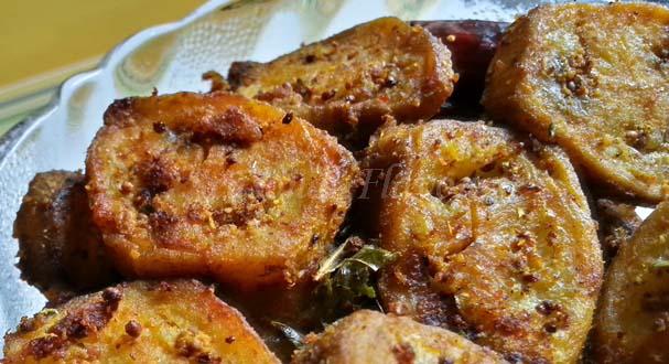Aratikaya Fry Recipe Andhra Style