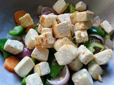 Add cottage cheese for pan-fried paneer recipe