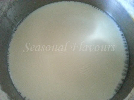 Boil milk with sugar for custard jelly recipe