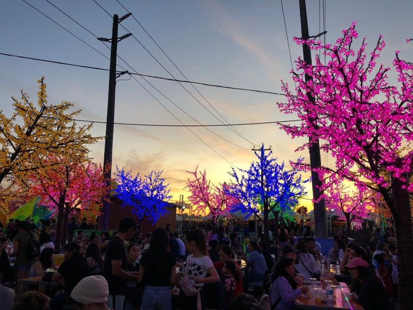 Picnic area at sunset at the Richmond Night Market