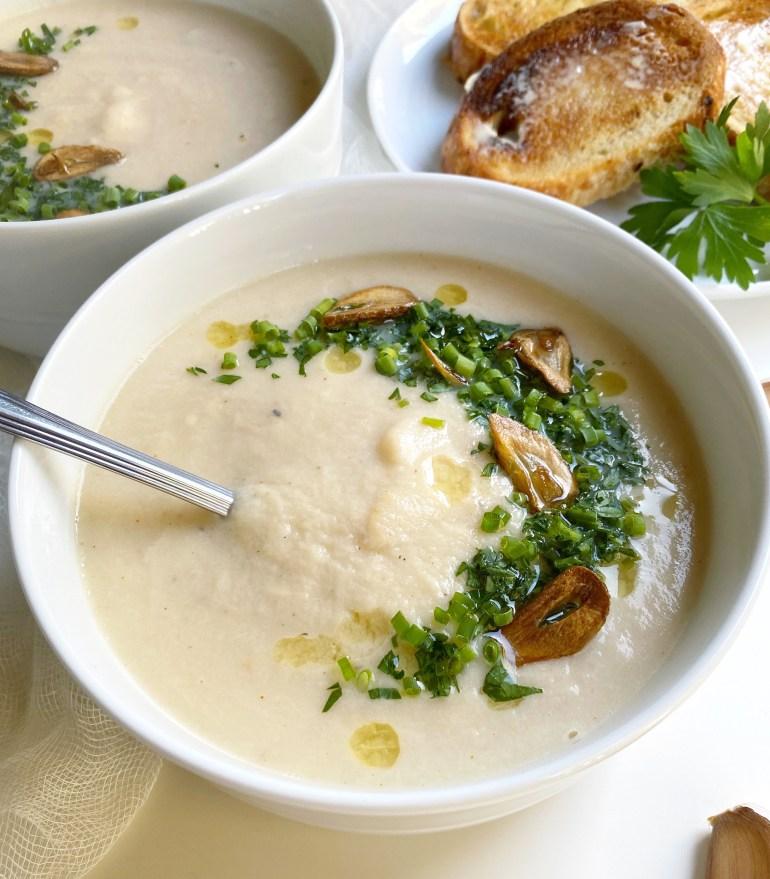 Smoked Gouda, Garlic & Cauliflower Soup - Season & Serve Blog