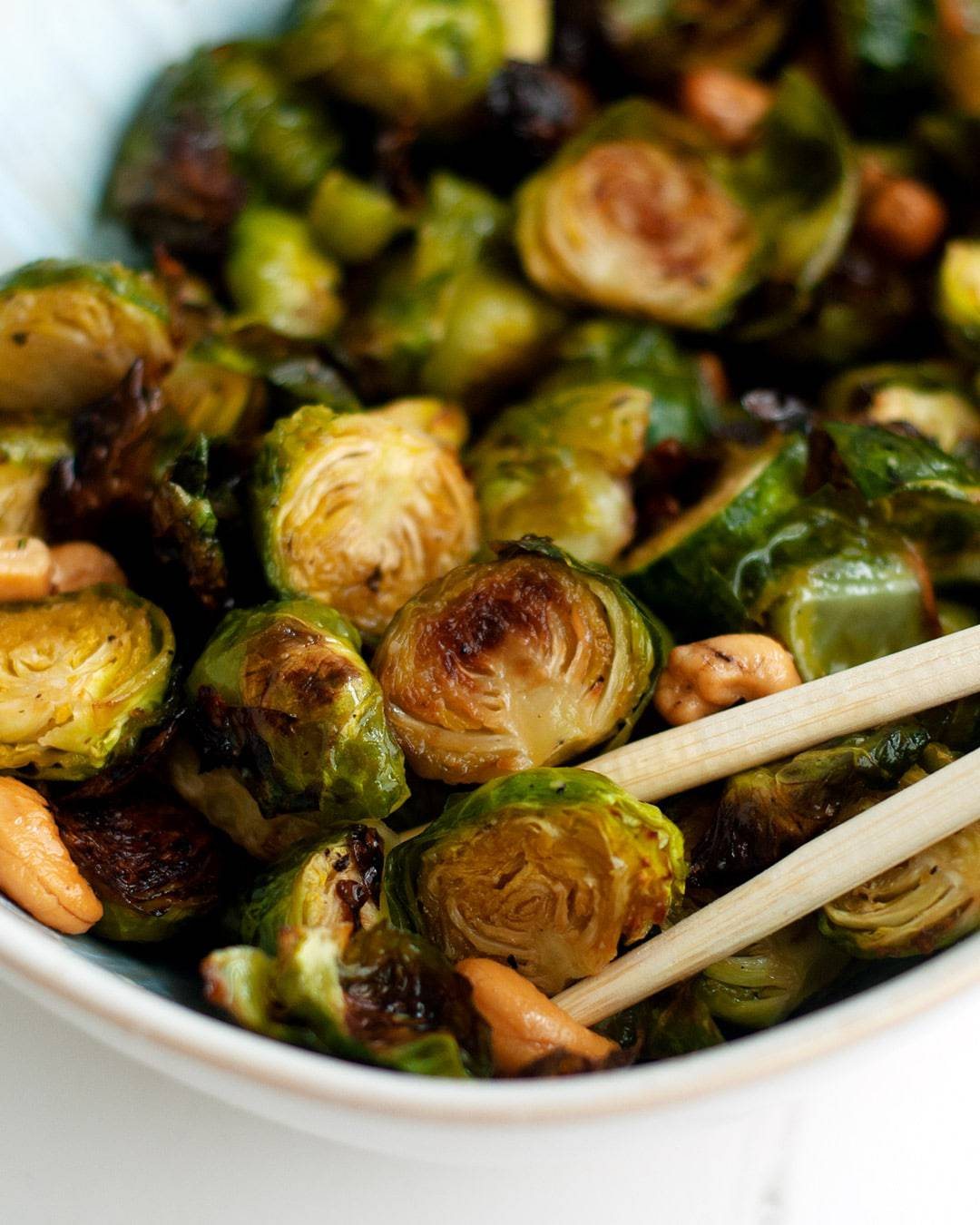 Lemon Miso Brussels Sprouts with Cashews