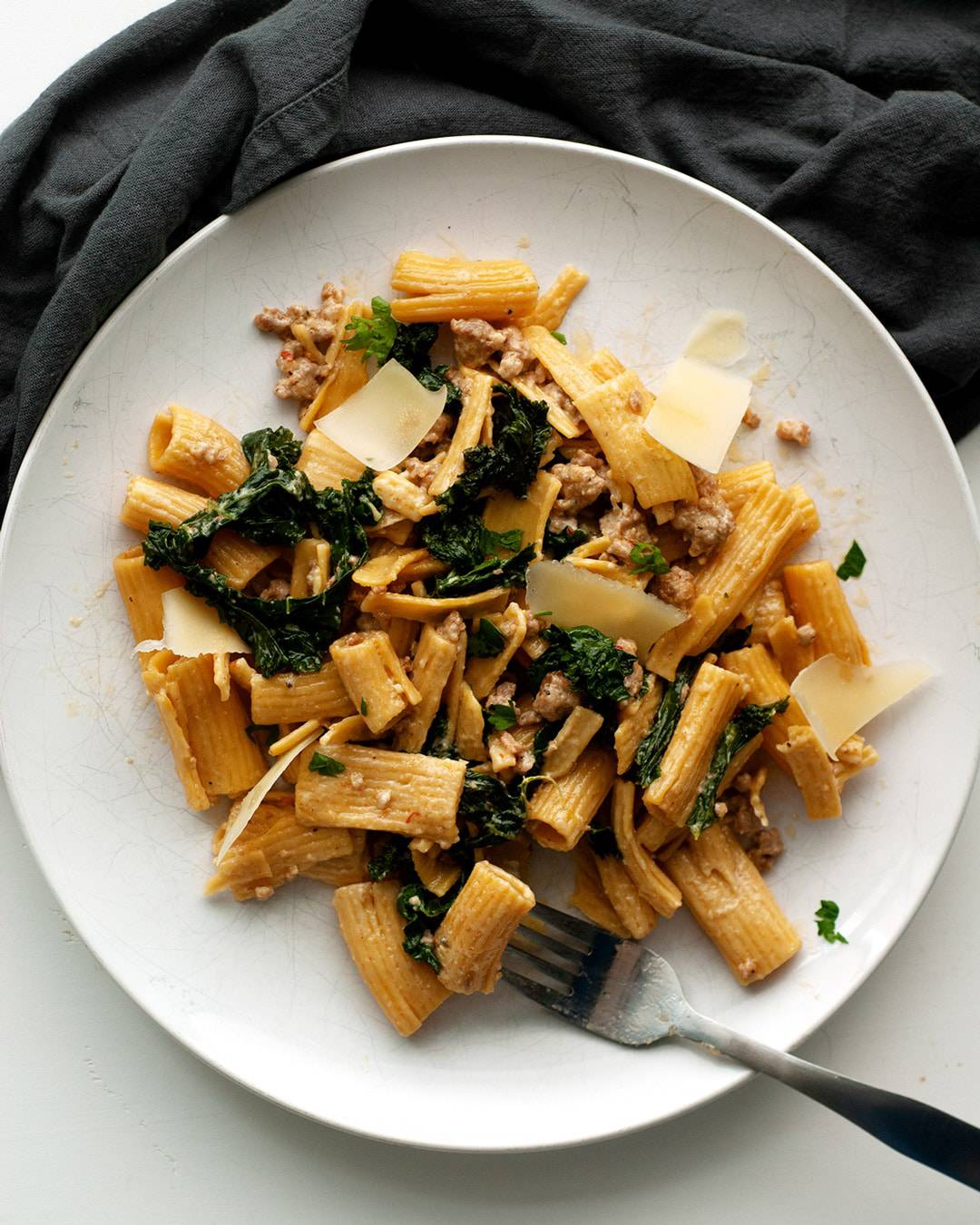 Spicy Sausage and Cream Sauce Pasta with Kale