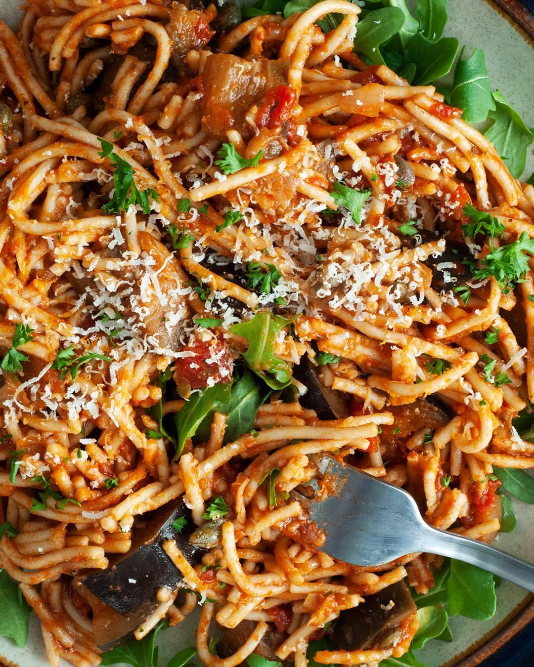 eggplant puttanesca pasta