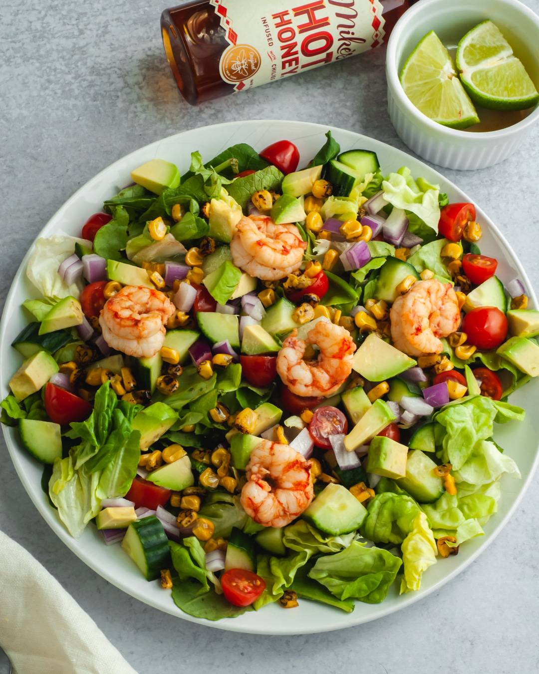 Roasted Corn and Honey Lime Shrimp Salad