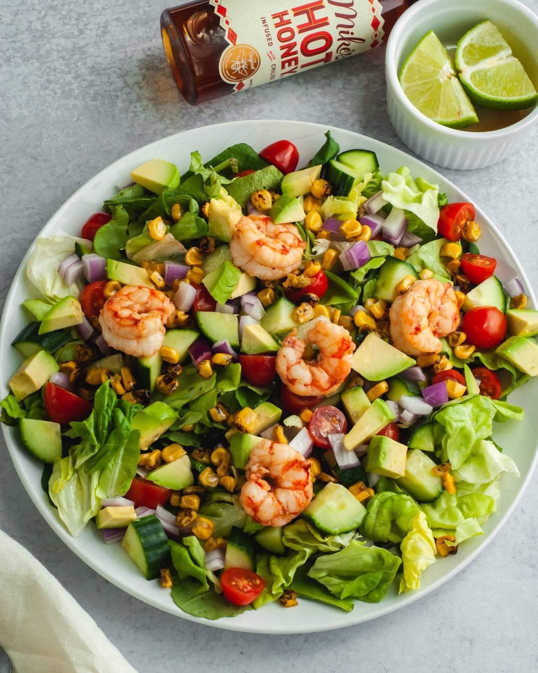 Roasted Corn and Honey Lime Shrimp Salad