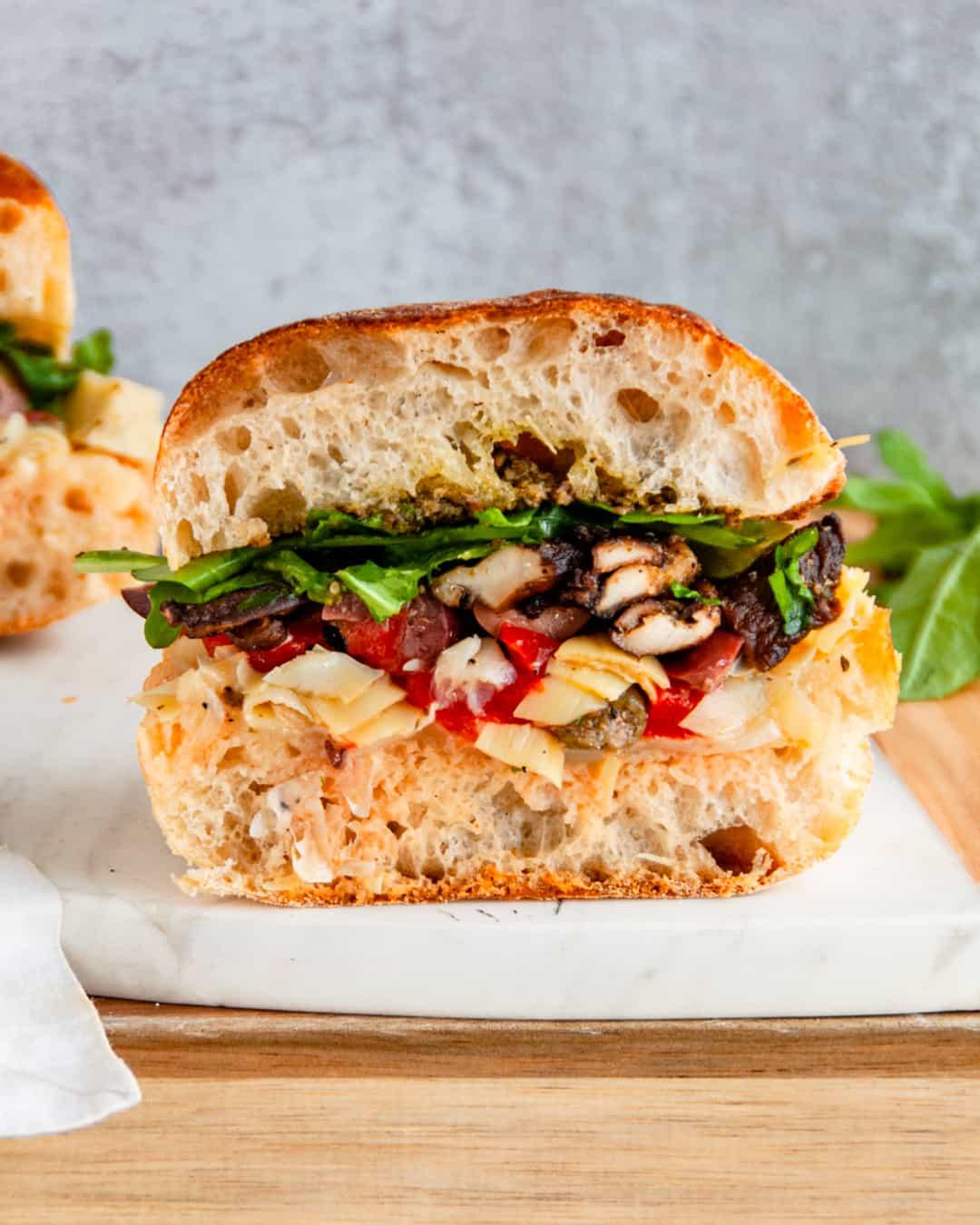 mushroom muffuletta sandwiches