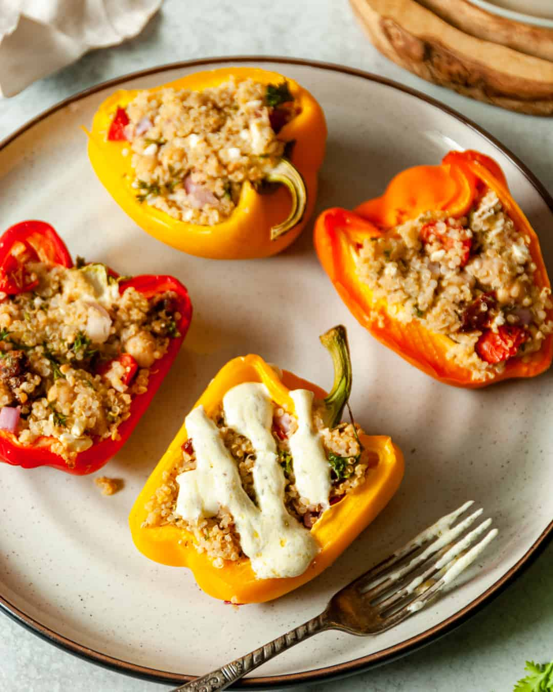 Mediterranean Vegetarian Stuffed Bell Peppers