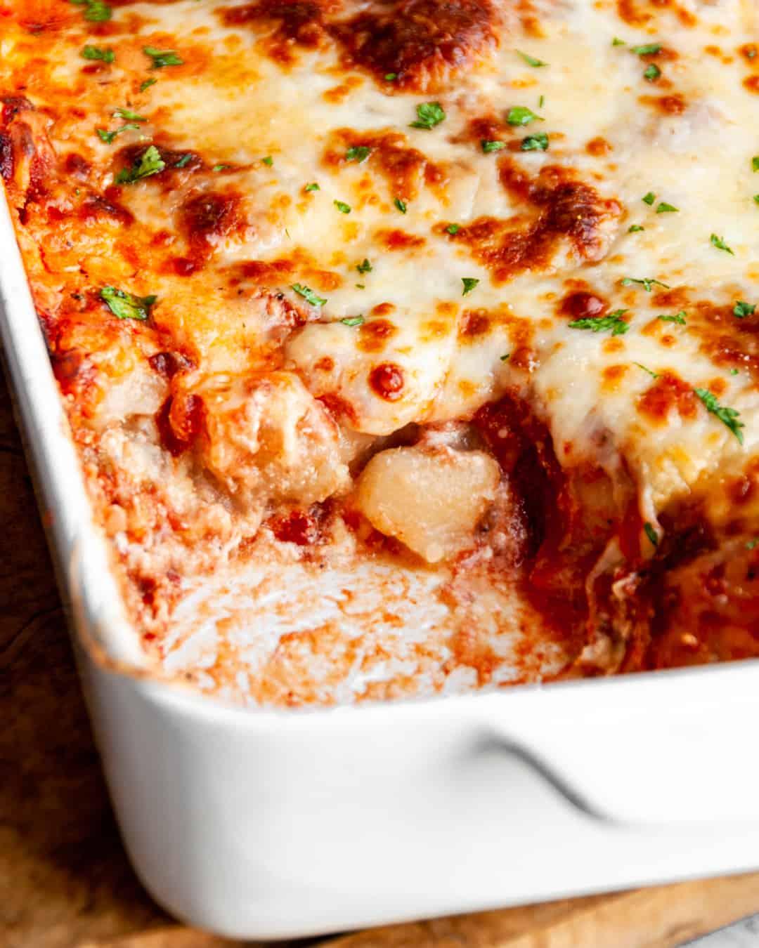 gluten-free lasagne with cauliflower gnocchi