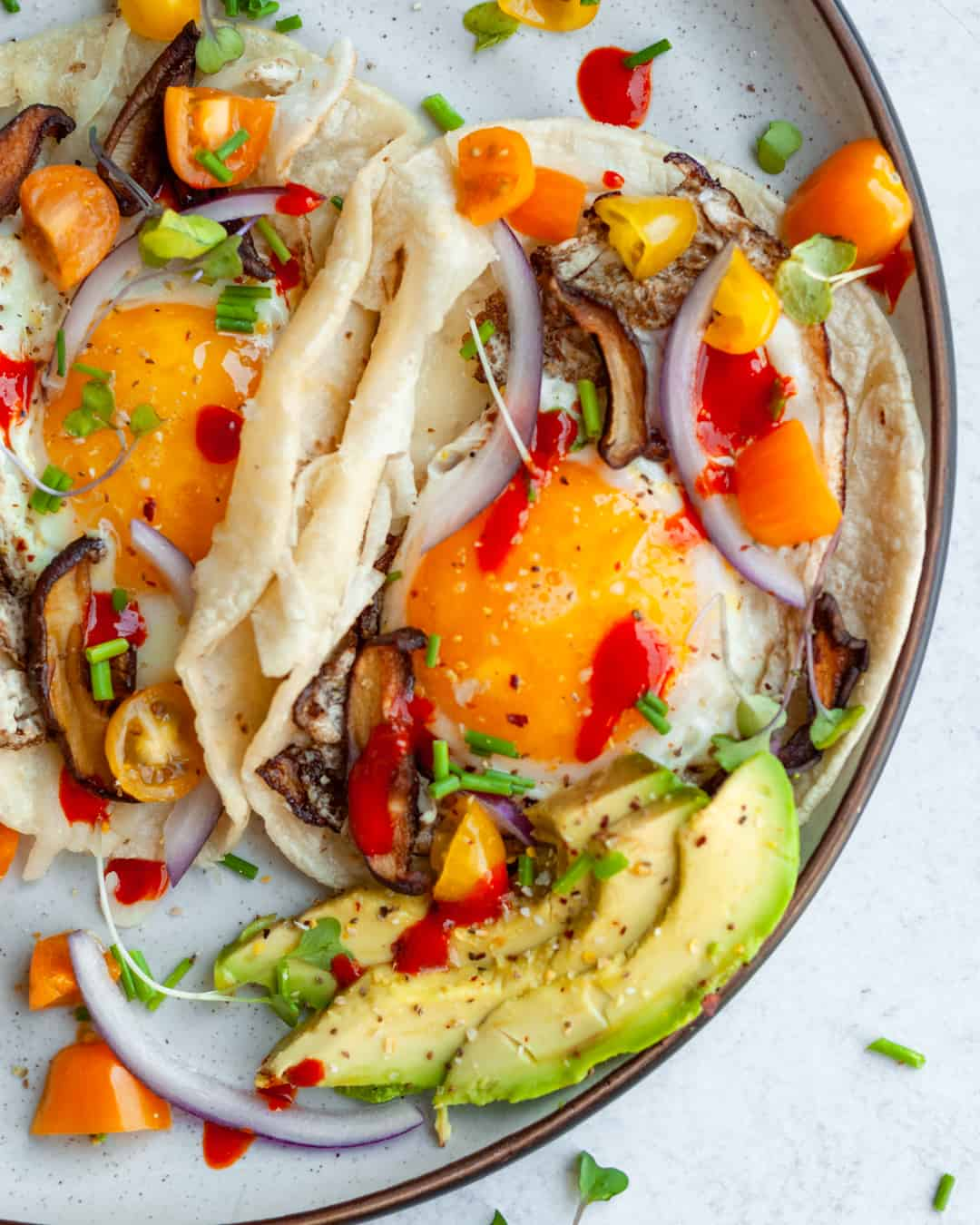 vegetarian breakfast tacos with shiitake mushrooms