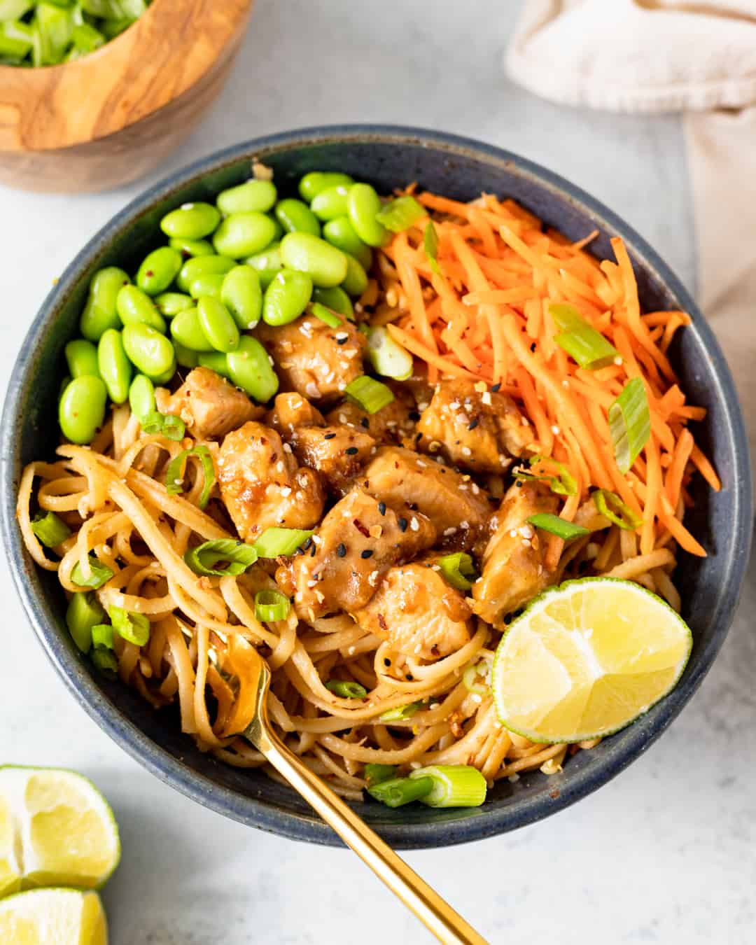 Creamy Peanut Noodles with Ginger Soy Chicken