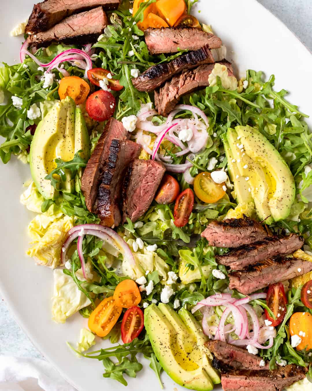 Flank Steak Salad with Homemade Creamy Balsamic Dressing