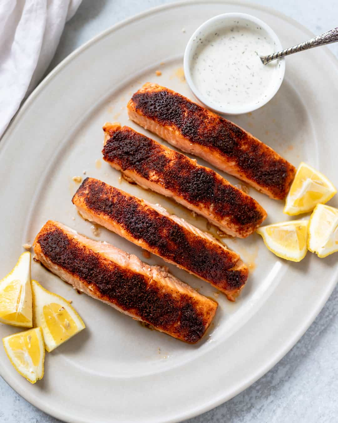 Blackened Salmon with Dad's Special Sauce