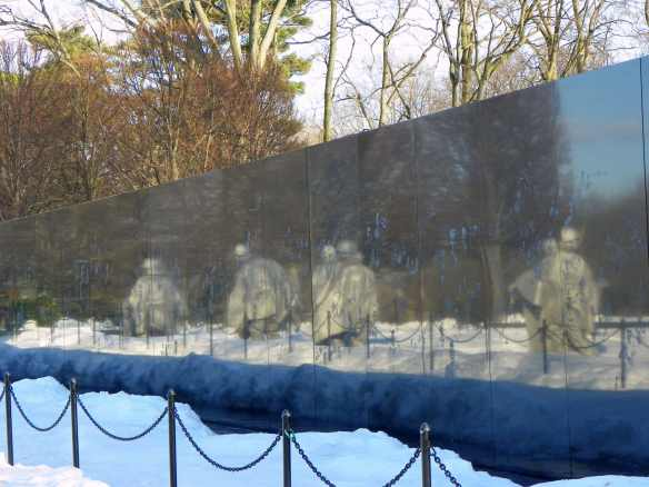 Korean war memorial reflections on wall Memorial,Feb 2010