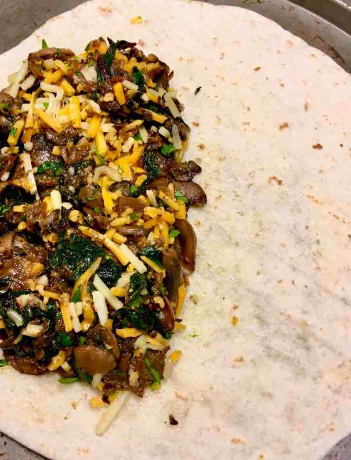 Swiss Chard Mushroom Sheet Pan Quesadillas filling