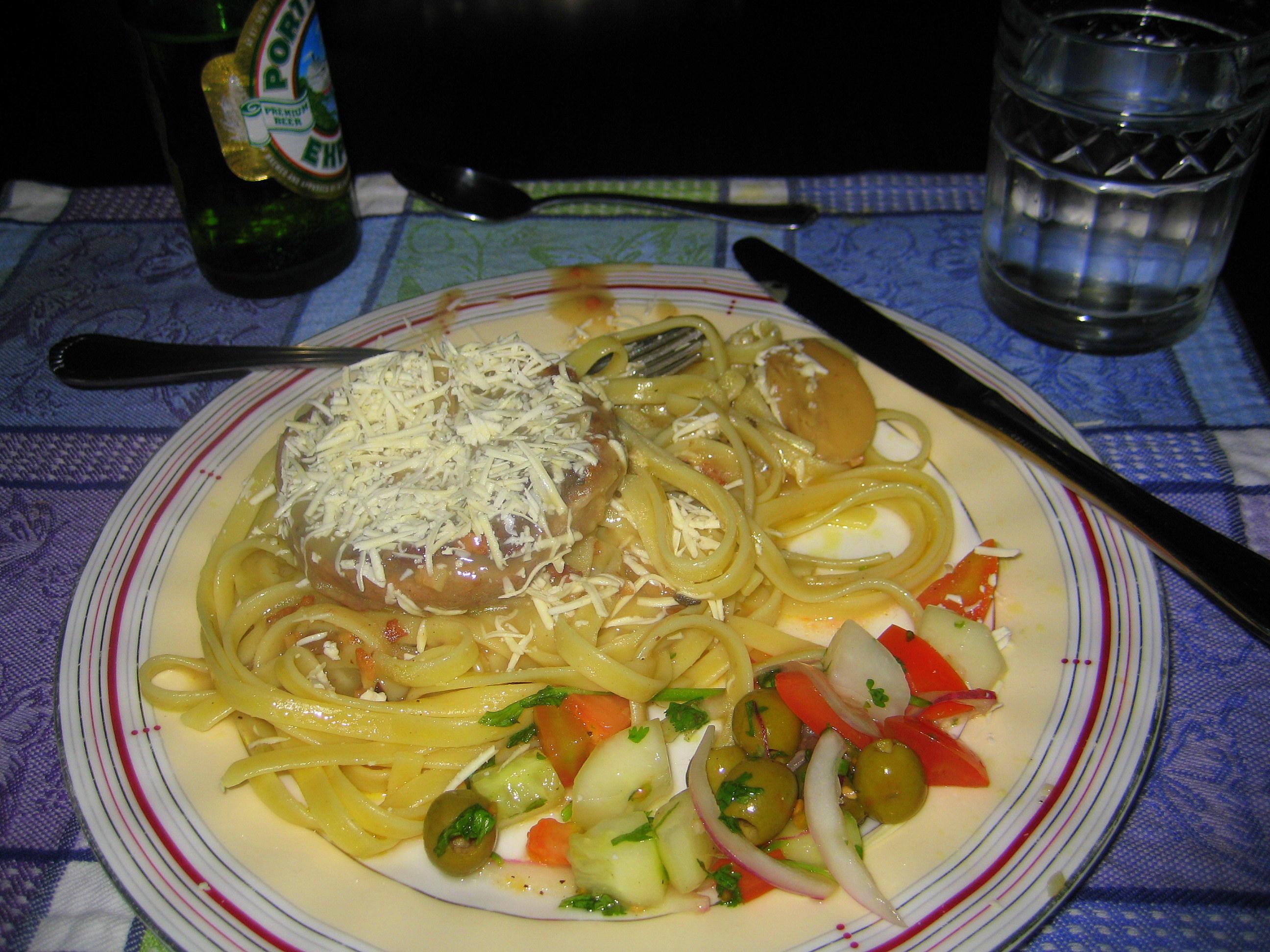 Steak and noodles.