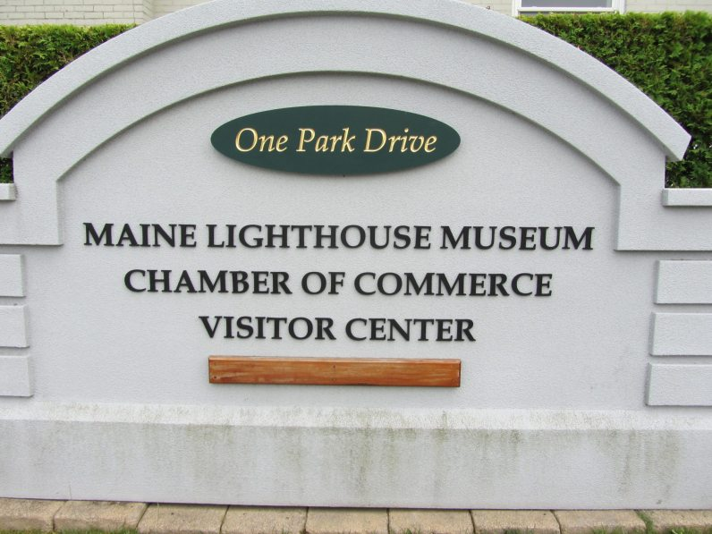 The sign for the Maine Lighthouse Museum in Rockland Maine