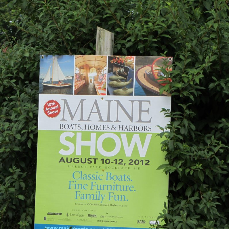 Sign with details of the Maine Boat show in Rockland.